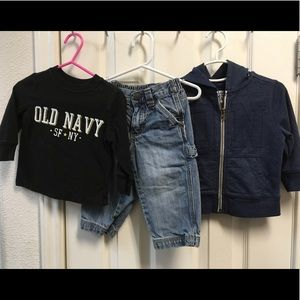 OLD NAVY 12-18 months, 3 Pc hoodie, shirt, pants